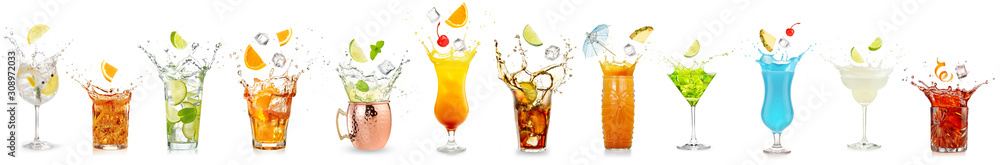 Fototapeta splashing cocktails collection isolated on white background
