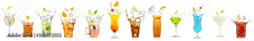 splashing cocktails collection isolated on white background
