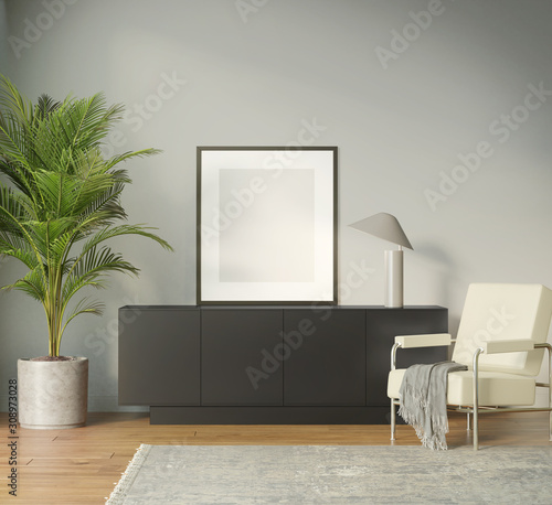 Fotografie, Tablou Modern black sideboard with a frame and a beige armchair