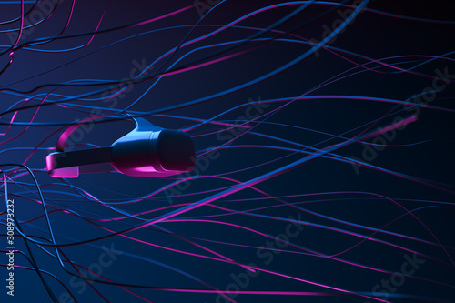 Abstract background made of black wires with vr goggles on the left side with blue and pink light Canvas Print