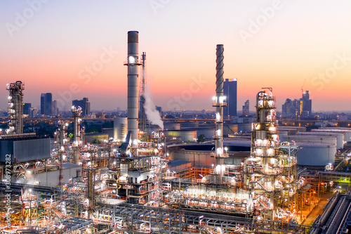 Fototapeta Aerial view of oil refinery during sunrise. obraz