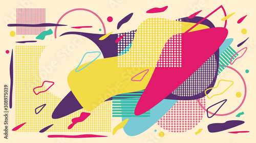 Abstract colorful background of various geometric shapes and doodles