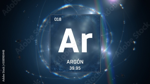 3D illustration of Argon as Element 18 of the Periodic Table Canvas Print