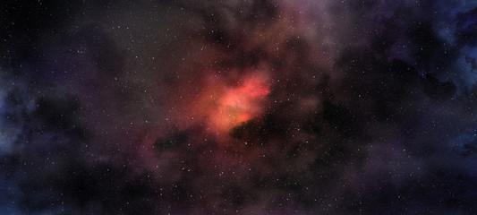 purple red glowing nebula in the starry sky