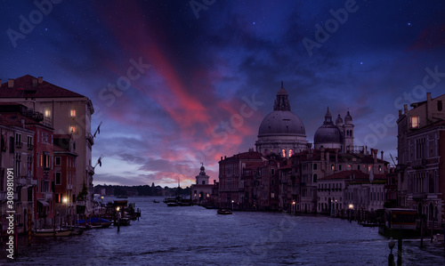 Fototapeta Grand Canal and Santa Maria della Salute in the twilight, Venice, Italy obraz