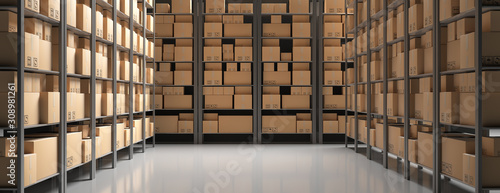 Obraz Cardboard boxes on storage warehouse shelves background. 3d illustration - fototapety do salonu