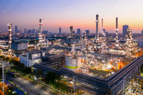 Fototapeta Aerial view of twilight of oil refinery ,Shot from drone of Oil refinery plant. obraz