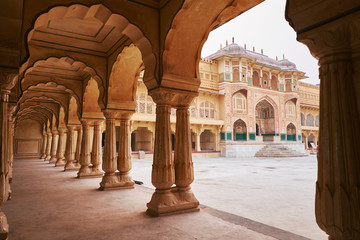 Amber Fort or Amer Fort in Jaipur, India. Mughal architecture medieval fort made of yellow sandstone. Architecture of India