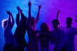 canvas print picture - Joyful Millennial People Dancing Having Party In Office At Night