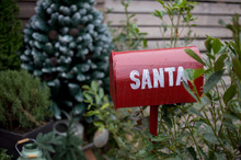 Christmas, Red Mailbox With Letters To Santa Claus