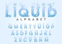 Liquid Alphabet - Water Letters Set, Vector Illustration