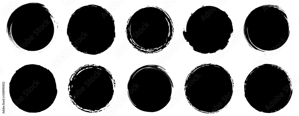 Fototapeta Grunge banner collection. Grounge round shapes big set. Vector