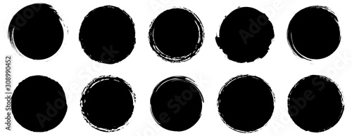 Photo Grunge banner collection. Grounge round shapes big set. Vector
