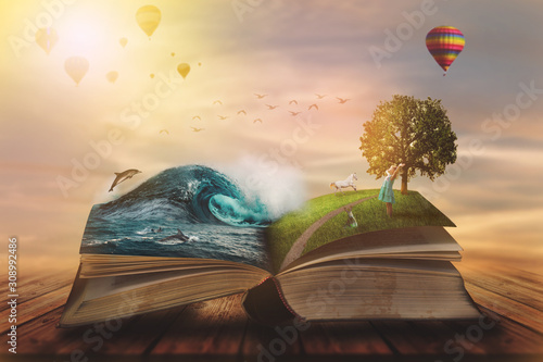 Obraz Concept of an open magic book; open pages with water and land and small child. Fantasy, nature or learning concept, with copy space - fototapety do salonu