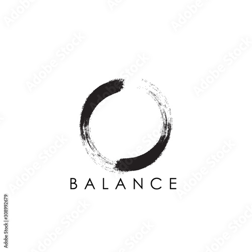 Photo simple abstract logo design of zen with circular brush stroke.