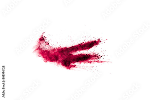 Fotomural  Abstract red dust explosion on white background
