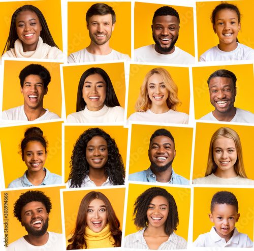 Fototapeta Collage of diverse multiethnic people smiling over yellow background