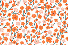 Beautiful Floral Print, Rich Orange And Pastel Flowers On A White Background Seamless Pattern. Spring/summer Botanical Texture, Ornament. Vector Design For Fashion, Fabric, Book Covers, Magazines...