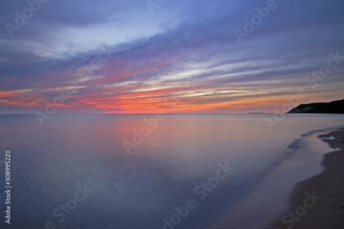 Lake Michigan shoreline at sunset, Sleeping Bear Dunes National Lakeshore, Michigan, USA