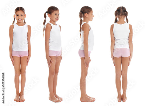 Photo Collage of cute little girl in underwear on white background
