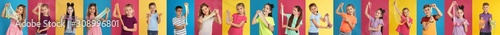 Fotomural Collage of children with different slimes on color backgrounds