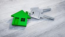 Eco Green House With Keys Concept Illustration - 3D Illustration