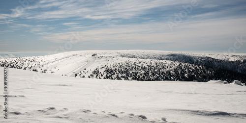 Fotografie, Obraz  Petrovy kameny and Vysoka hole from Praded hill in winter Jeseniky mountains in