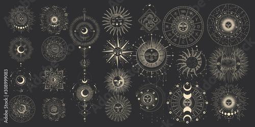 Valokuva Vector illustration set of moon phases