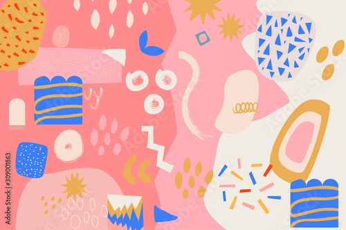 Fototapety, obrazy: Modern and stylish abstract digital background with different shapes and line arts.