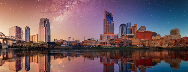 Nashville skyline with blue and purple sky