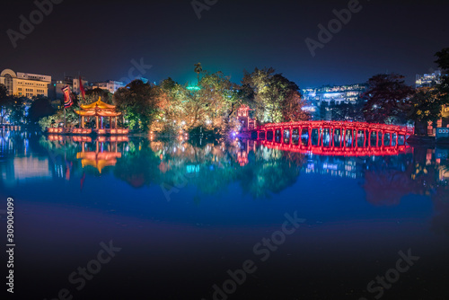 Red bridge in Hoan Kiem lake, Ha Noi, Vietnam, landmark, traveling, scenery.