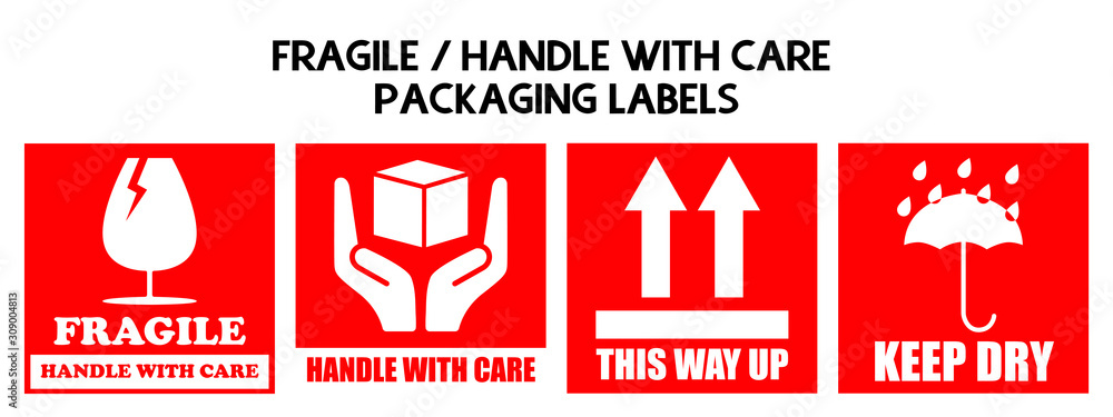 Fototapeta Fragile or Package Label stickers set. (Fragile, Handle with Care, This Way Up, Keep Dry). Red and White color set. Square format.