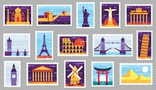 World Cities Post Stamps. Travel Postage Stamp Design, City Attractions Postcard And Town. Monumets Post Letter Stamping, Travelling Mail Stamps. Isolated Vector Illustration Icons Set