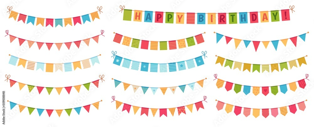 Fototapeta Party bunting. Color paper triangular flags collected and draped in garlands, happy birthday buntings. Party celebration bunting, fabric festive flag. Cartoon isolated vector icons set