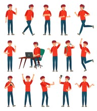 Cartoon Male Teenager Character. Teenage Boy In Different Poses And Actions. Student Man Action Poses, Guy Characters Gesture Or Male Person Sign. Isolated Vector Illustration Icons Set
