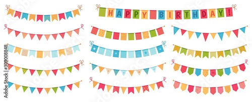 Obraz Party bunting. Color paper triangular flags collected and draped in garlands, happy birthday buntings. Party celebration bunting, fabric festive flag. Cartoon isolated vector icons set - fototapety do salonu