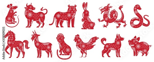Chinese Zodiac New Year signs Canvas Print