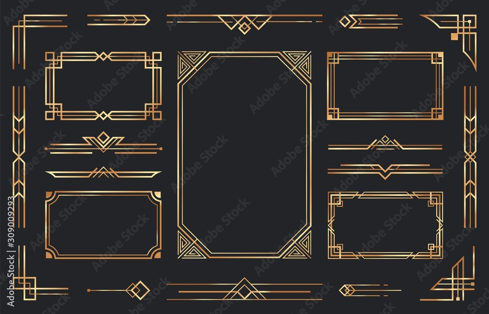 Fototapeta Golden art deco ornaments. Arabic antique decorative gold border, retro geometric ornamental frame and ornate golden corners. Geometry deco label, old victorian decoration. Isolated vector symbols set