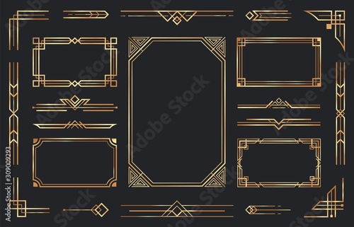 Obraz Golden art deco ornaments. Arabic antique decorative gold border, retro geometric ornamental frame and ornate golden corners. Geometry deco label, old victorian decoration. Isolated vector symbols set - fototapety do salonu