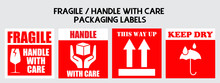 Fragile Or Package Label Stickers Set. (Fragile, Handle With Care, This Way Up, Keep Dry). Red And White Color Set. Square Format.