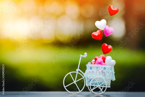 Vintage bicycle model with transport a heart and drop on the top in sunlight in the public park for supporting when people get who lack of desire with love and Valentine's Day concept Wallpaper Mural