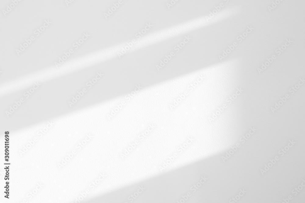 Fototapeta Organic drop diagonal shadow on a white wall. Overlay effect for photo, mock-ups, posters, stationary, wall art, design presentation
