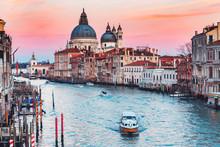Cathedral Santa Maria Della Salute Tourists On Gondola Grand Canal Of Venice Sunset, Italy