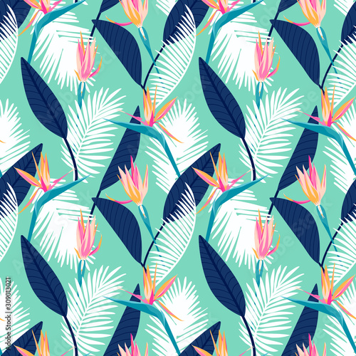 Bird of paradise flower, tropical floral seamless pattern with trends fashion colors. Pantone color of the year 2020 aqua menthe