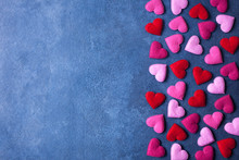 Pink And Red Hearts On A Blue Background