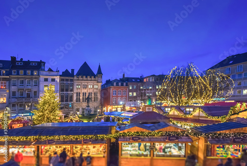 Annual Aachen christmas market during blue hour Wallpaper Mural
