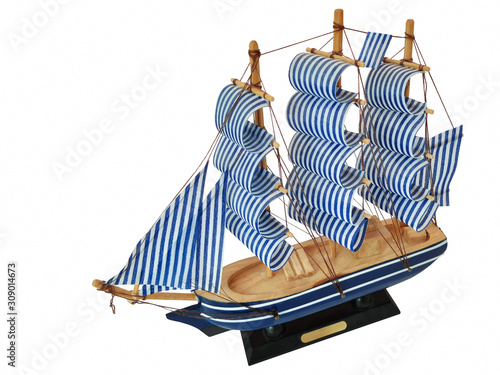 Obraz Ship model on a white background. Pure white background, no shadow in Adobe Photoshop. - fototapety do salonu