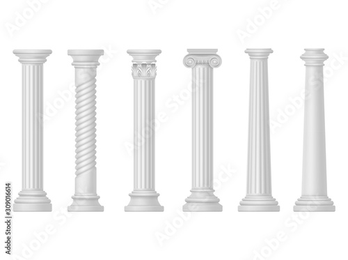 Leinwand Poster Antique white columns, Greek and Roman architecture