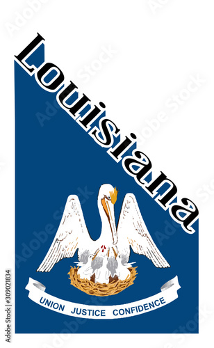 Lousiana Angled Shadow Text With State Flag Wallpaper Mural