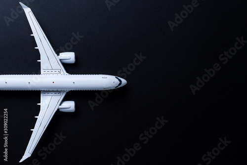 Photo Aircraft model on black background, Top view with empty space